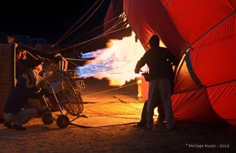 Preparation for the balloon flight.